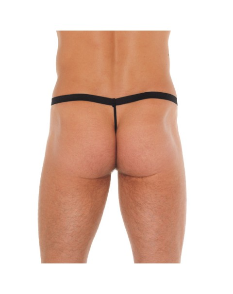 Mens Black G-String With Leopard Print Pouch