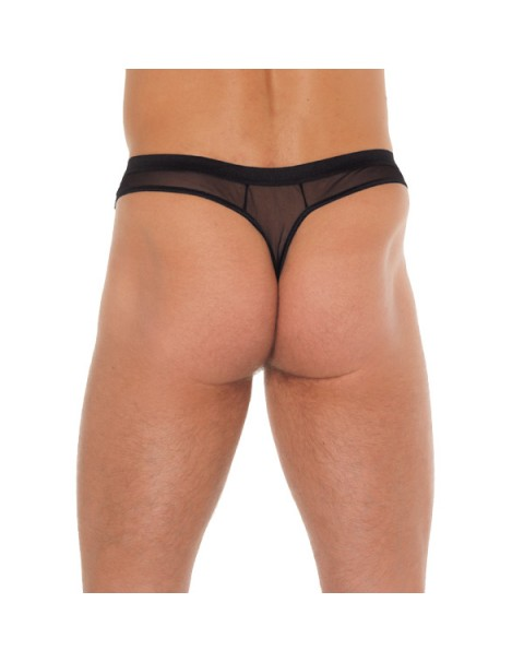 Mens Black G-String With Penis Sleeve