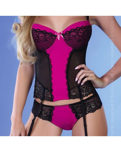 Corsetti Kagami Pink And Black Basque Set