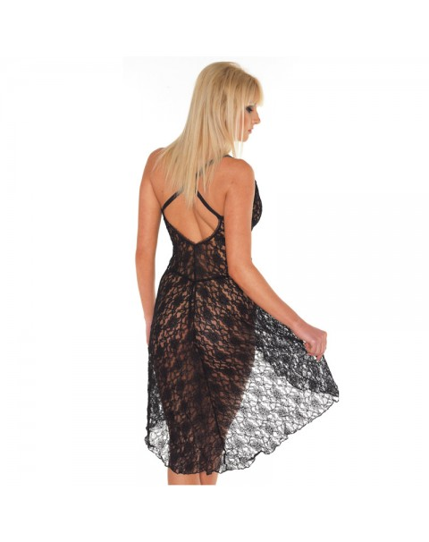 Black Lace Night Dress And G-String One Size 8 to 12 UK