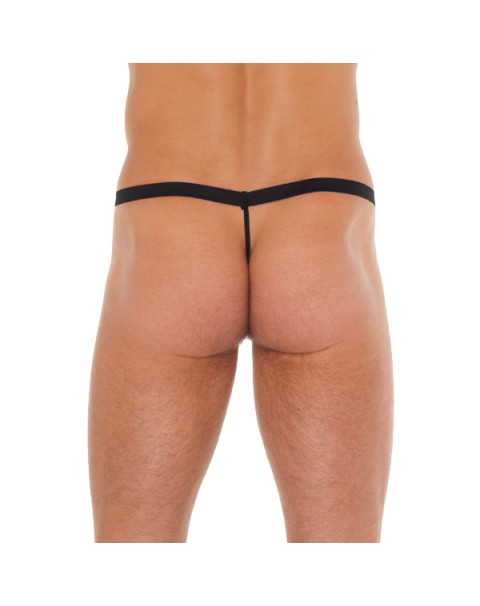 Mens Black G-String With Pink Pouch