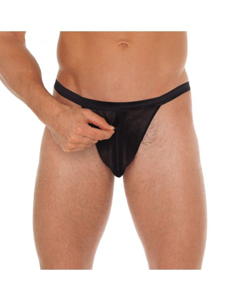 Mens Black G-String With Pouch