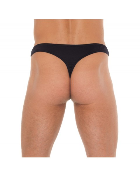 Mens Black G-String With A Net Pouch