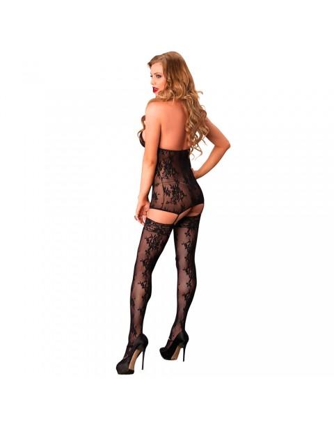 Leg Avenue Lace Suspender Bodystocking Black UK 8 to 14